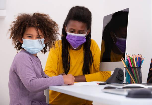 Homeschooling during coronavirus. stock photo