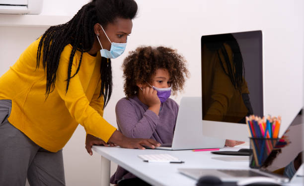 Homeschooling during pandemic. stock photo
