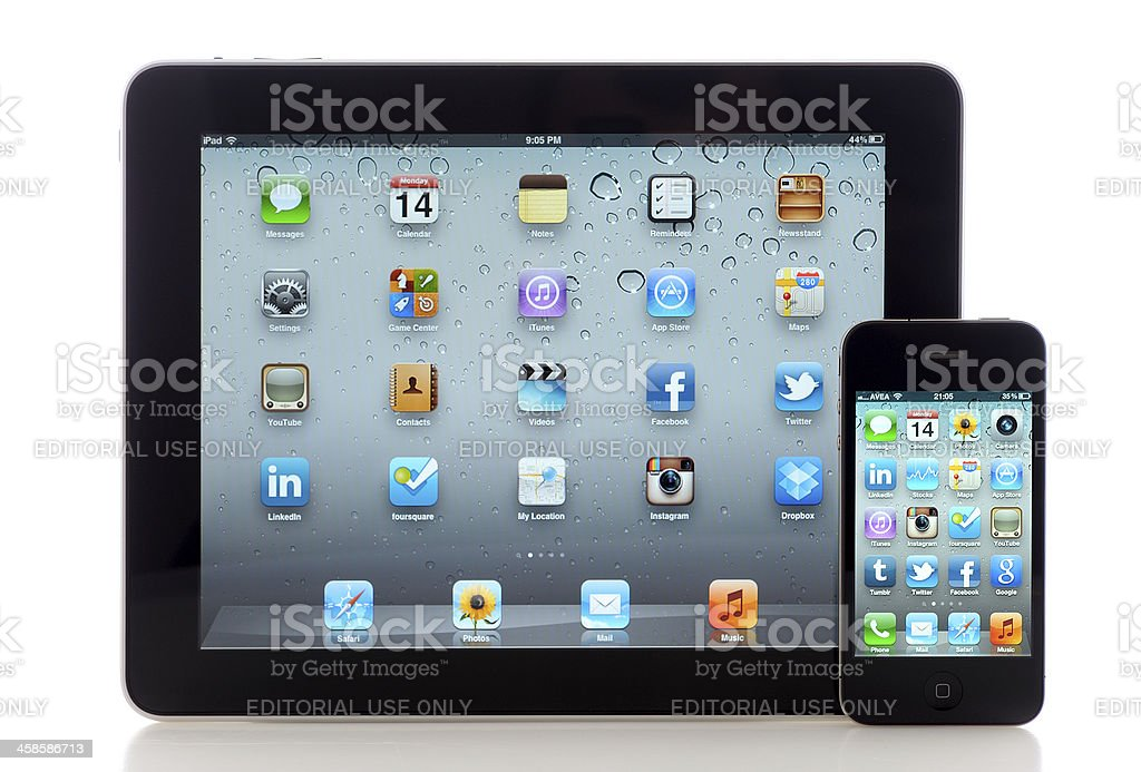 Homescreen on iPad and iPhone 4 royalty-free stock photo