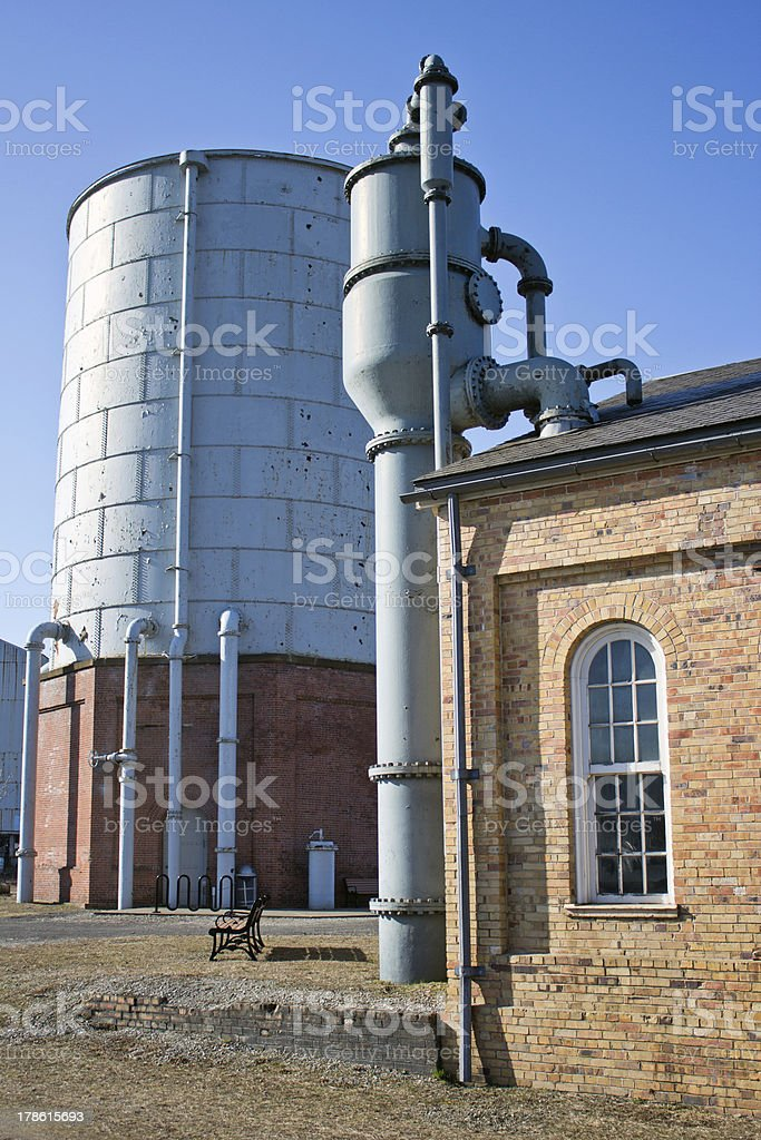 Homestead Water Tower Pump House &Blue Sky stock photo