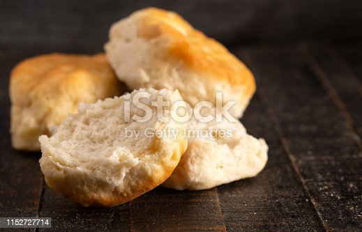 Homestyle Buttermilk Biscuits on a Rustic Wooden Table