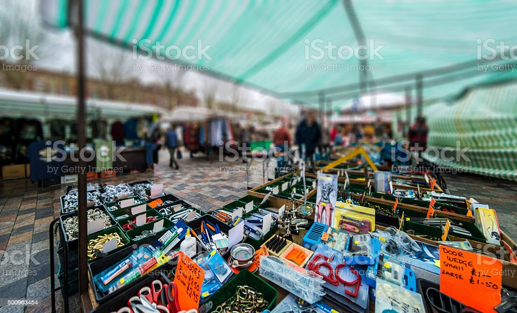 Homewares and Tool Market Stall stock photo
