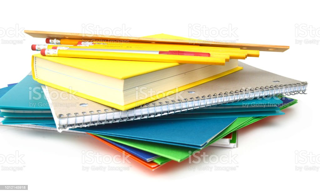 homeworks and school supplies stock photo