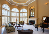 istock Homey Great Room With Vaulted Ceiling and Grand Piano 484714957