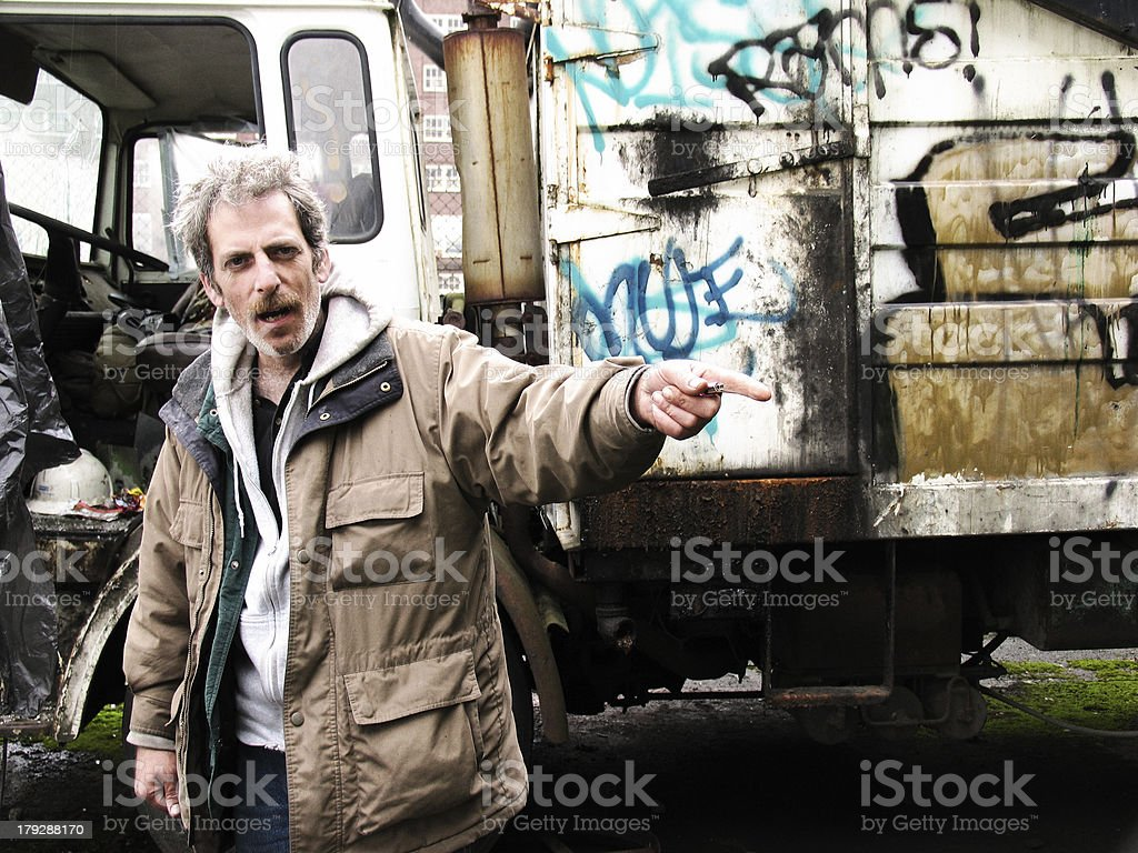 Homless Man Pointing royalty-free stock photo