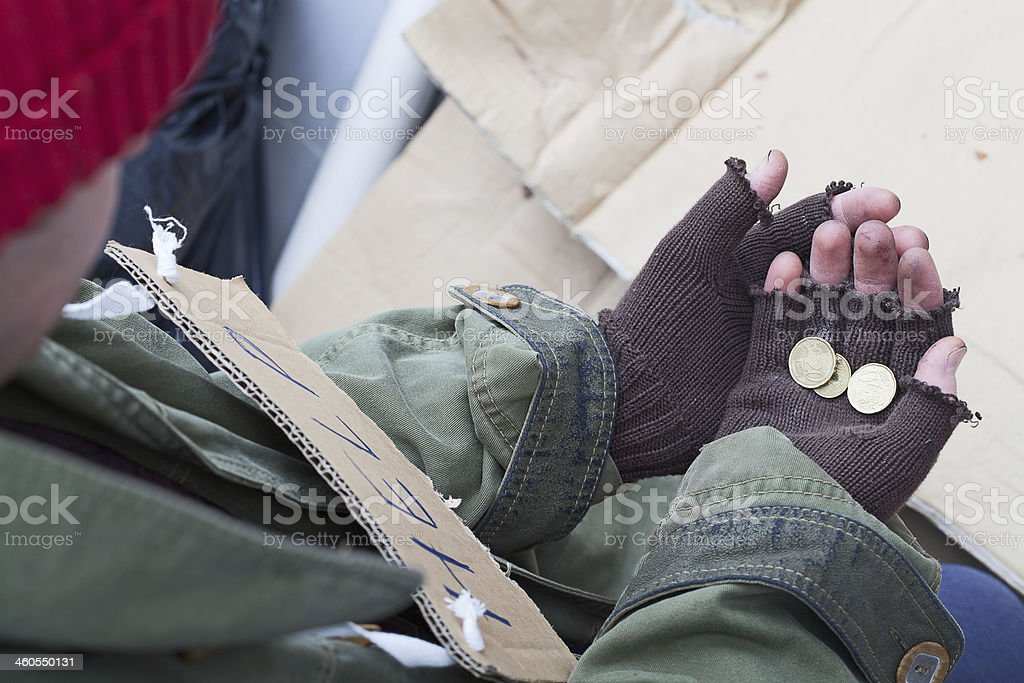 Homless with the alms stock photo