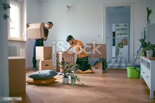 Homosexual couple unpacking cardboard boxes and moving in a new home