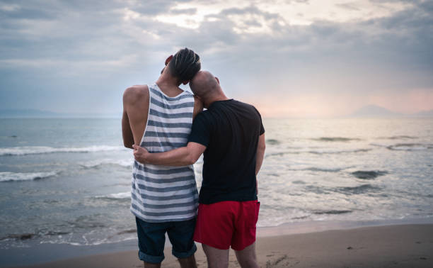 Homosexual couple watching the sunset stock photo