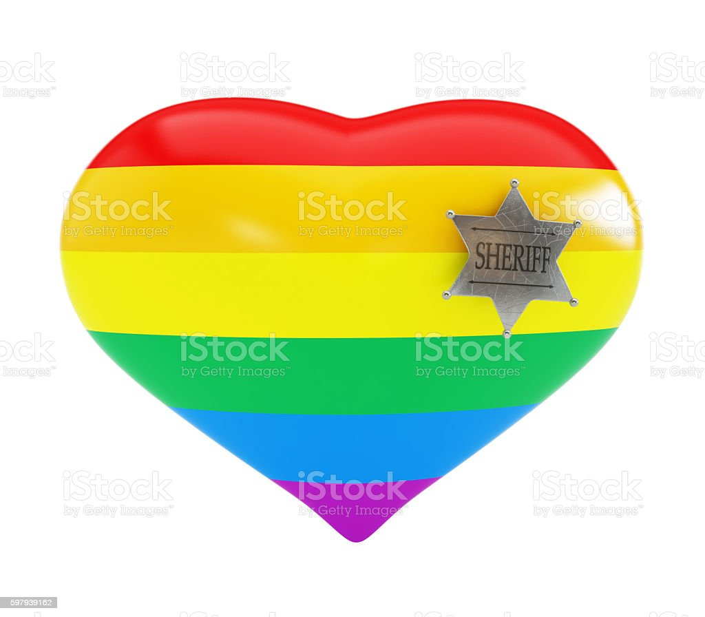 homosexual police on white background. 3d Illustrations stock photo