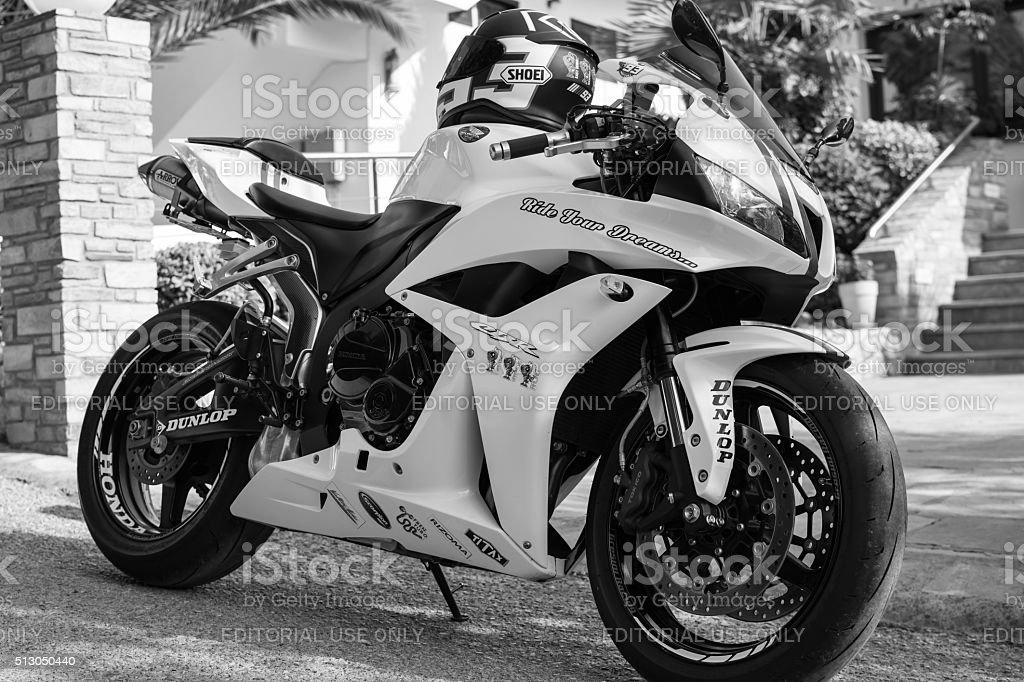 Honda 2007 CBR 1000RR white motorcycle stock photo