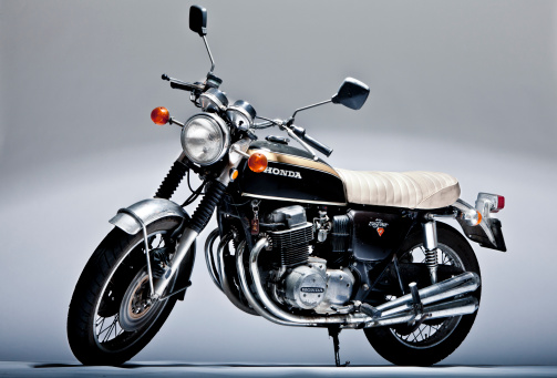 Honda CB 750 four vintage motorcycle in studio shoot