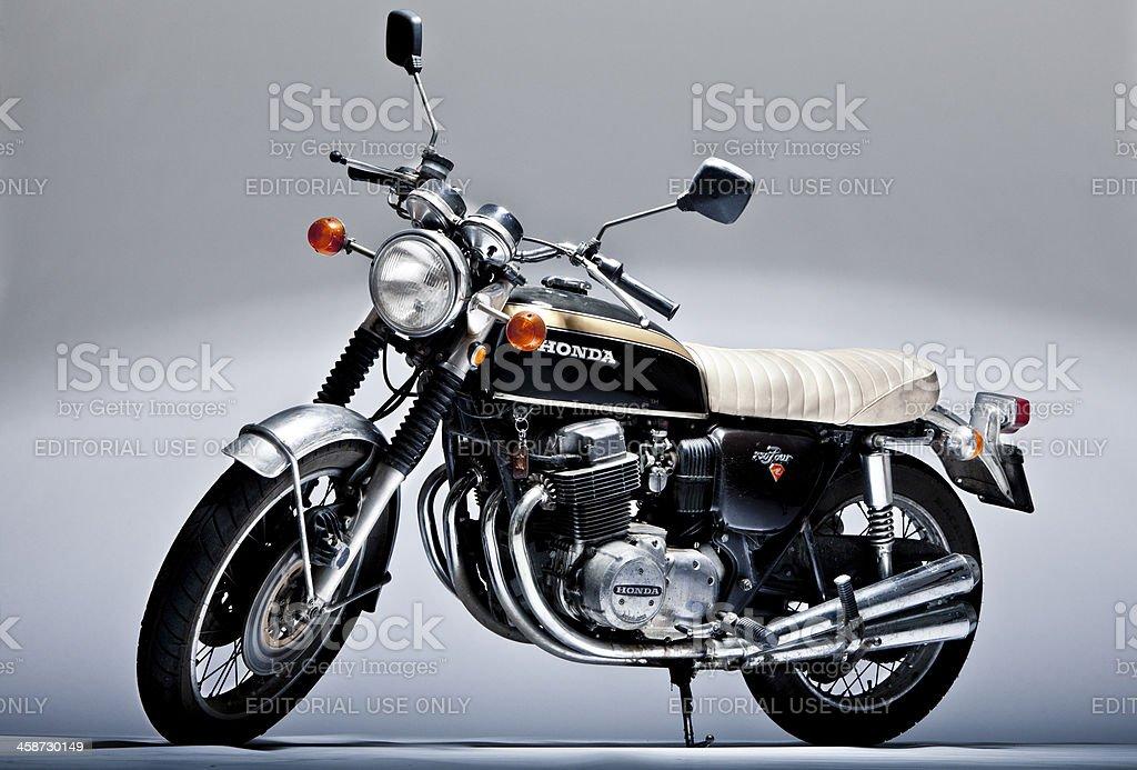 Honda CB 750 four vintage motorcycle in studio shoot stock photo
