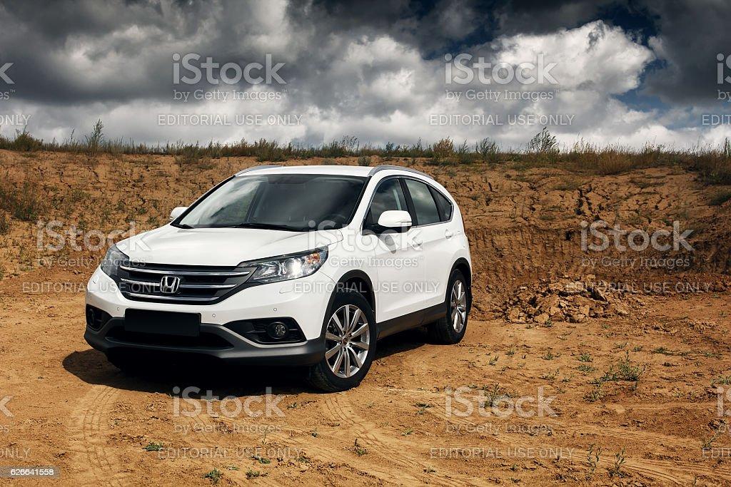 Honda CR-V at countryside road stock photo