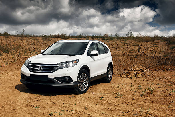Honda CR-V at countryside road stock photo