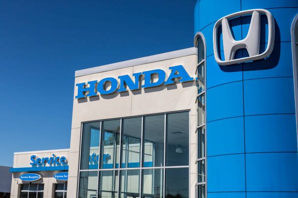 Honda Motor Co. Logo and Sign. Honda Manufactures Among the Most Reliable Cars in the World VI stock photo