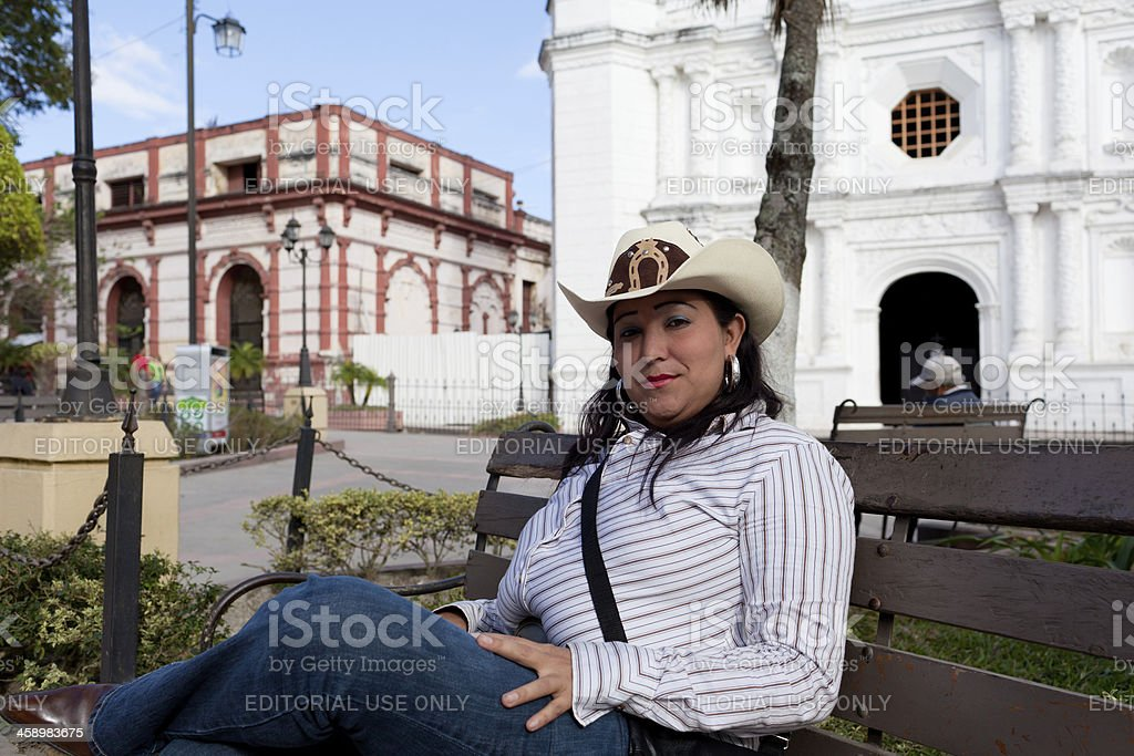 Honduran cowgirl stock photo