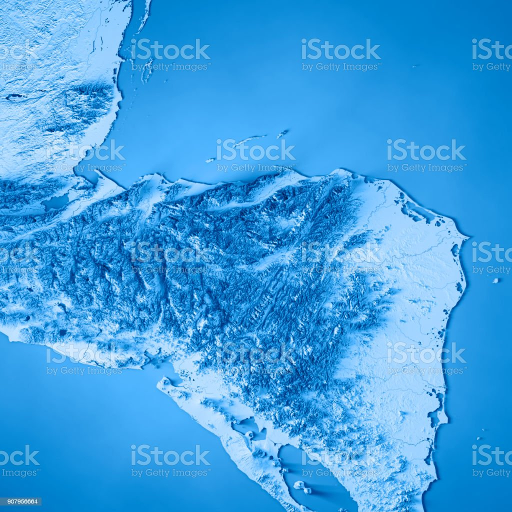 Honduras Topographic Map.Honduras Country 3d Render Topographic Map Blue Border Stock Photo