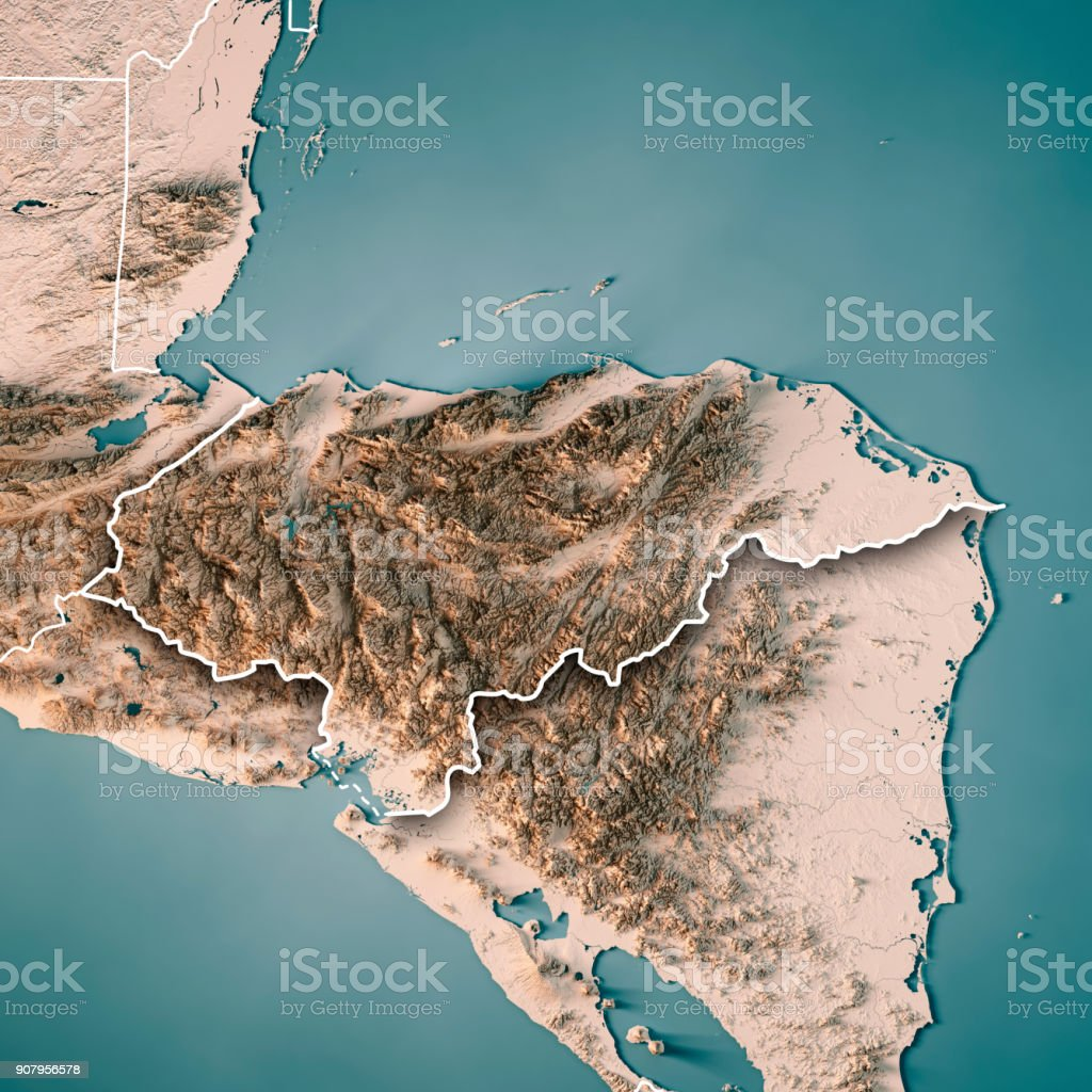 Honduras Topographic Map.Honduras Country 3d Render Topographic Map Neutral Border Stock