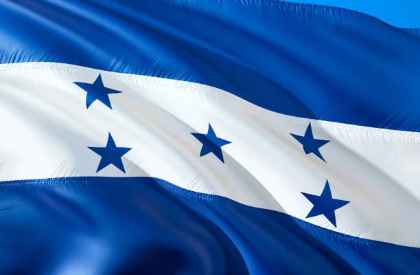 """bandera de honduras. diseño de la bandera 3d que agita. el símbolo nacional de honduras, renderizado 3d. el símbolo nacional de fondo de pantalla de honduras. américa del sur bandera 3d cinta, papel pintado, fondo de patrón """"n - bandera de honduras fotografías e imágenes de stock"""