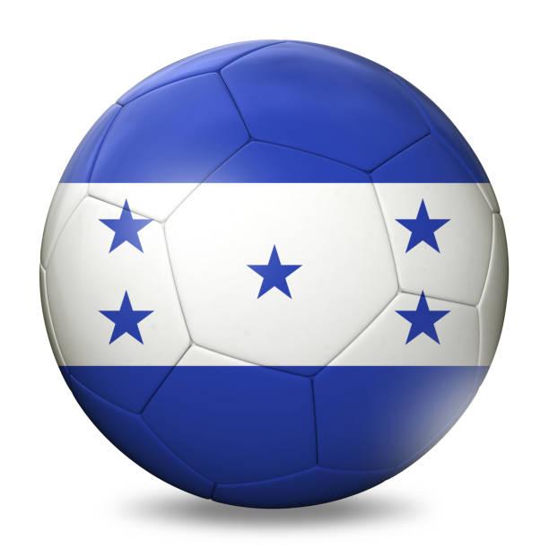 balón de fútbol de fútbol de bandera de honduras - bandera de honduras fotografías e imágenes de stock