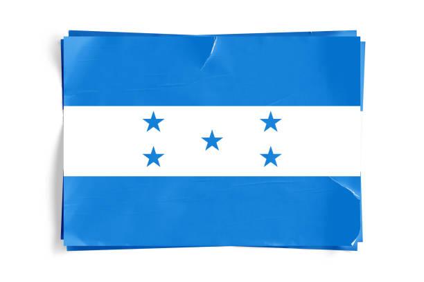 bandera de honduras en los carteles de pantalón arrugado papel desmenuzado - bandera de honduras fotografías e imágenes de stock