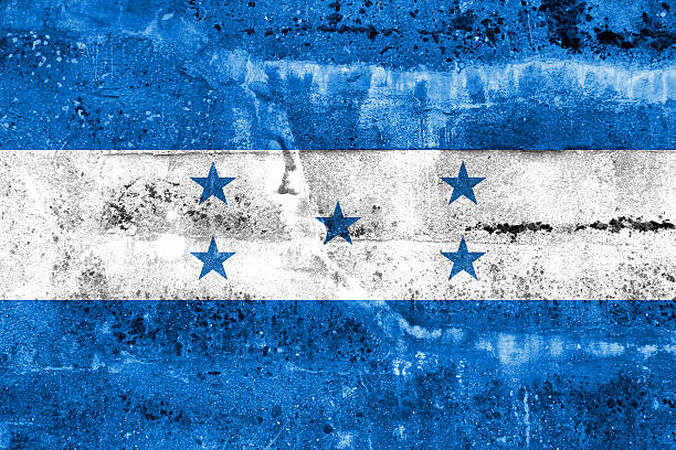 bandera de grunge de honduras pintado en pared - bandera de honduras fotografías e imágenes de stock