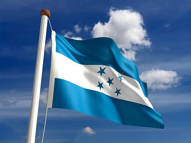 honduras bandera (con trazado de recorte - bandera de honduras fotografías e imágenes de stock