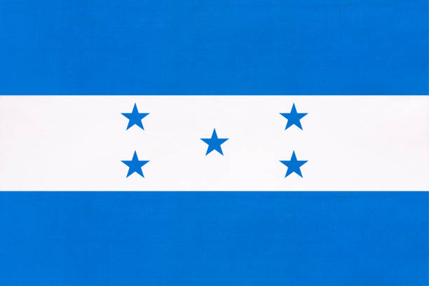 Honduras national fabric flag, textile background. Symbol of international world central America country. Honduras national fabric flag, textile background. Symbol of international world central America country. State Honduran official sign. honduras stock pictures, royalty-free photos & images