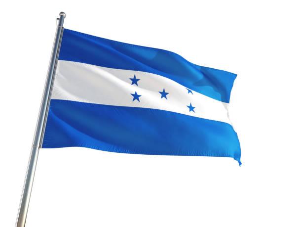 honduras bandera nacional ondeando en el viento, aislado fondo blanco. alta definición - bandera de honduras fotografías e imágenes de stock