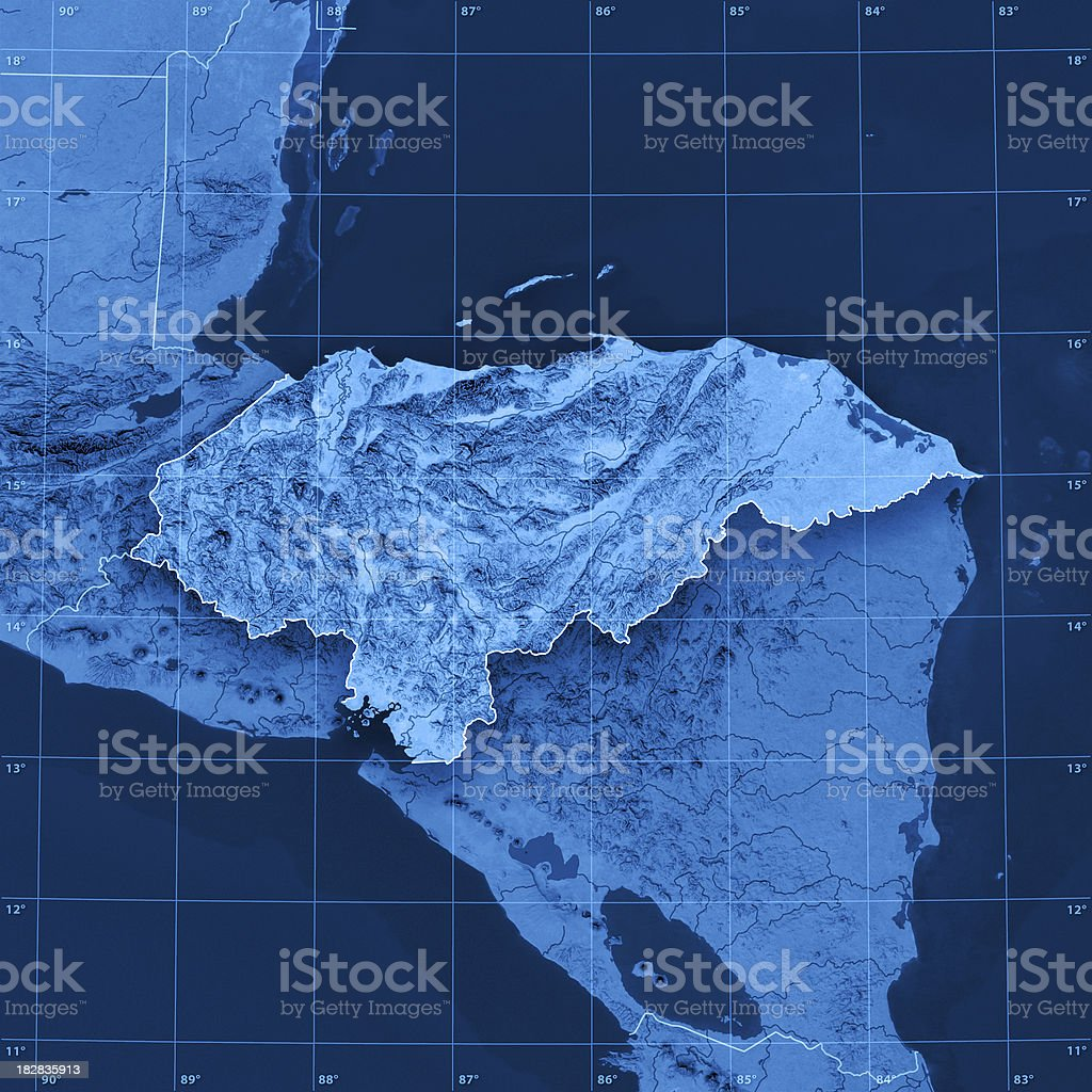 Honduras Topographic Map royalty-free stock photo