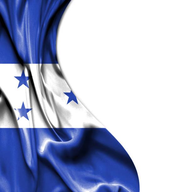 honduras bandera raso aislado sobre fondo blanco - bandera de honduras fotografías e imágenes de stock