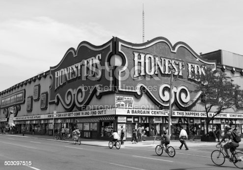 Toronto, Canada - July 12, 2014: The outside of the Honest Eds Store in Toronto during the day. People can be see outside the building
