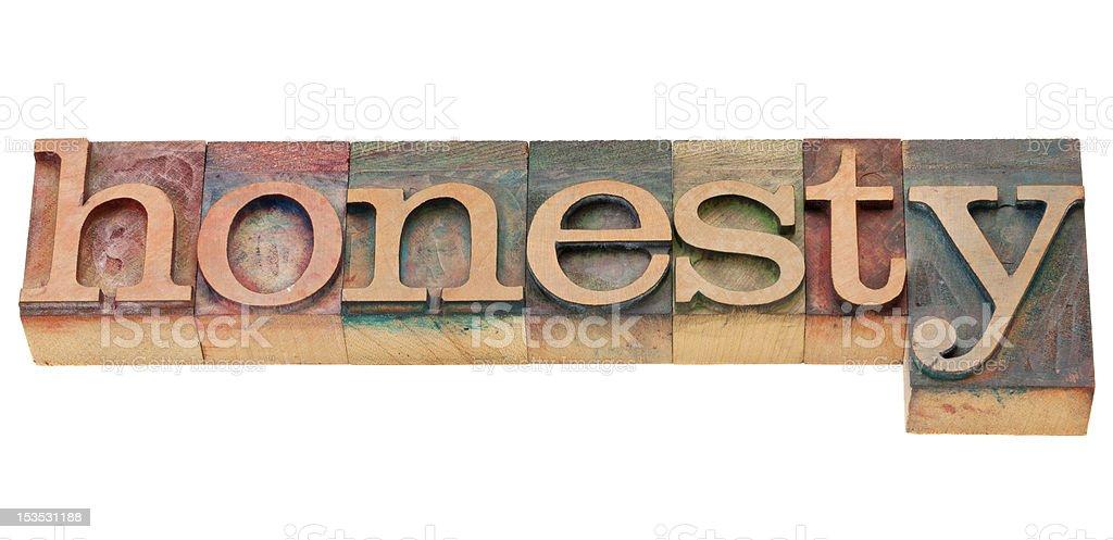 honesty word in letterpress type royalty-free stock photo