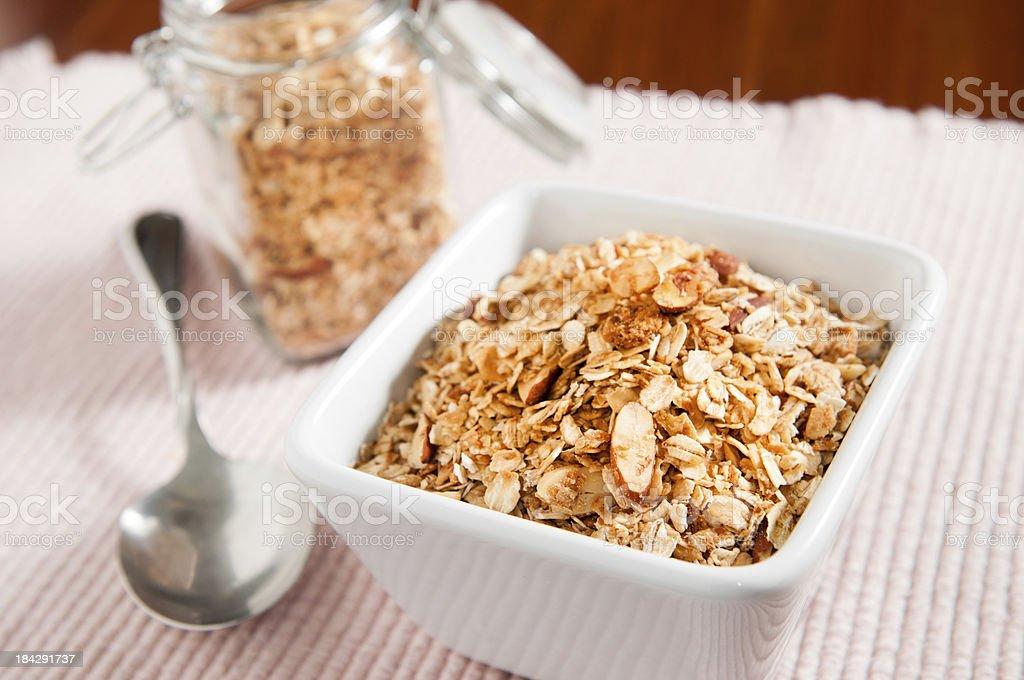Honey Almond Granola with Shredded Coconut royalty-free stock photo