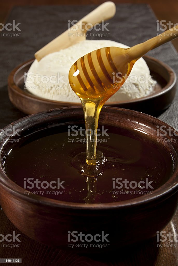 honey and clotted cream stock photo