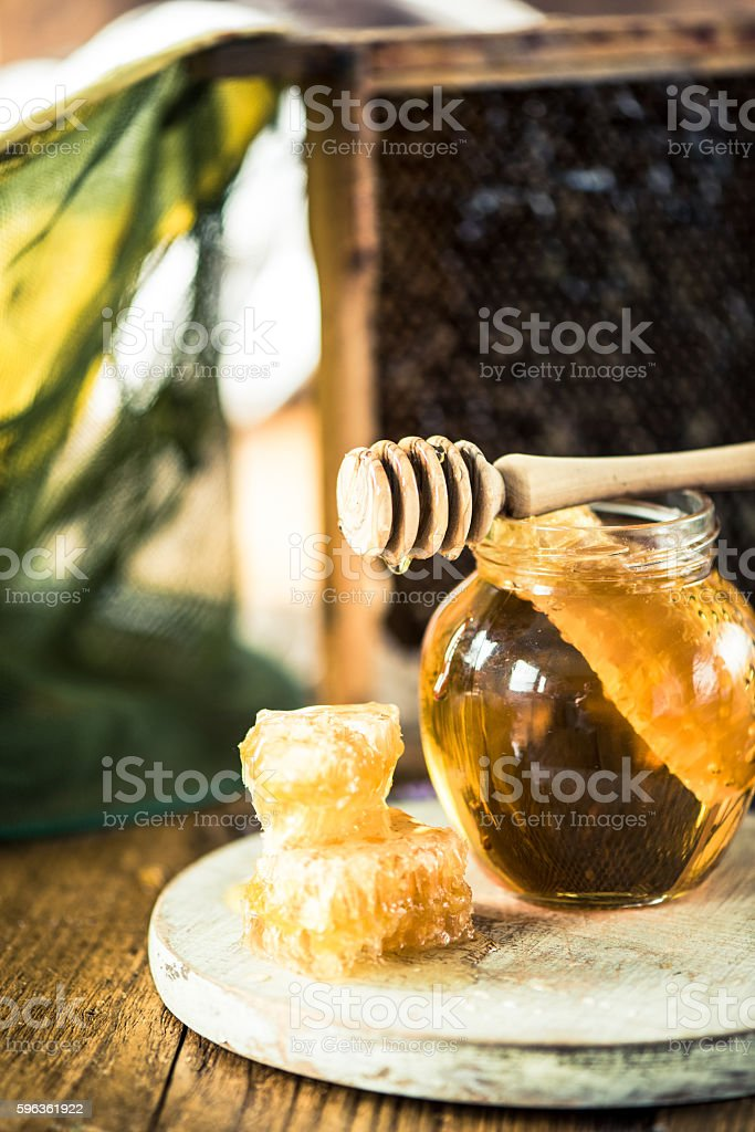 Honey and honeycomb from beekeeper royalty-free stock photo