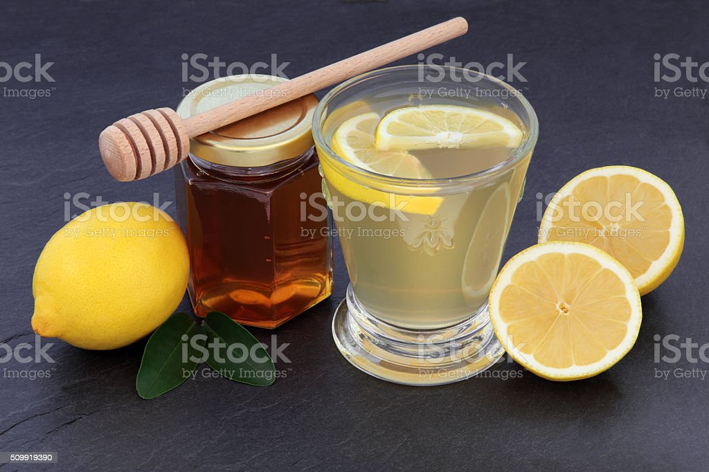Honey and Lemon Drink stock photo