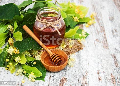 istock Honey and  linden flowers 885289896
