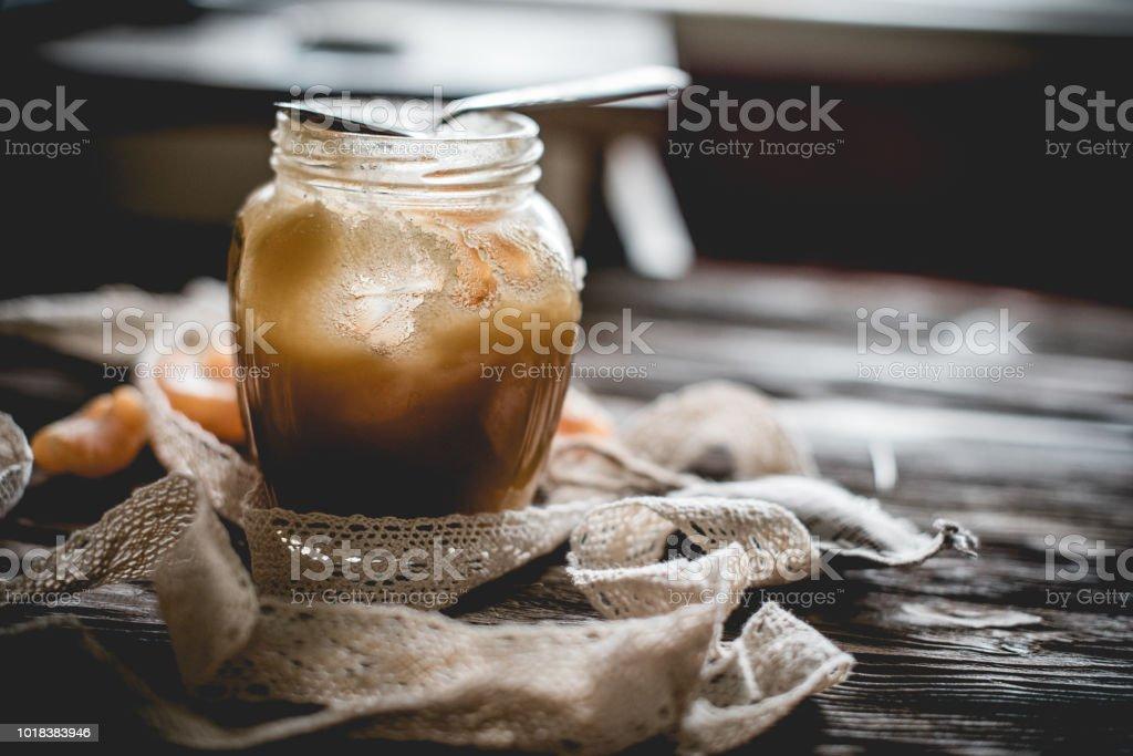 Honey and others natural medicine for the winter flue ( Rustic still life. - fotografia de stock