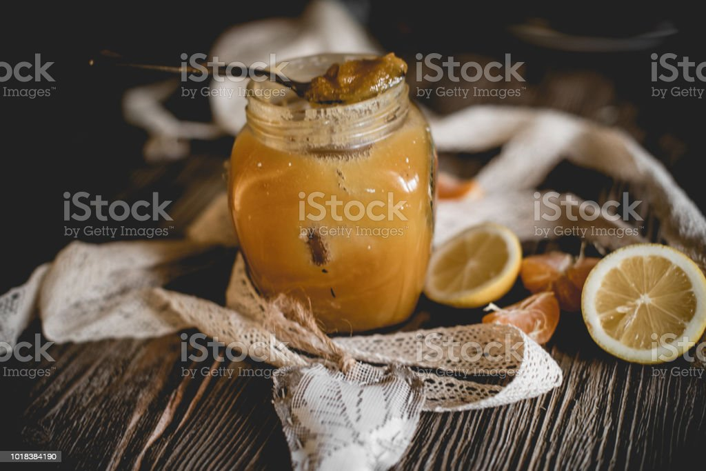 Honey and others natural medicine for the winter flue ( Rustic still life. stock photo