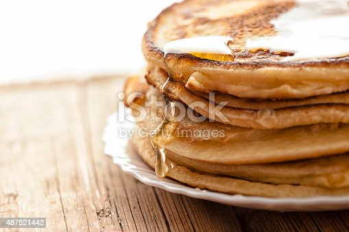 honey  and pancakes on the wooden table