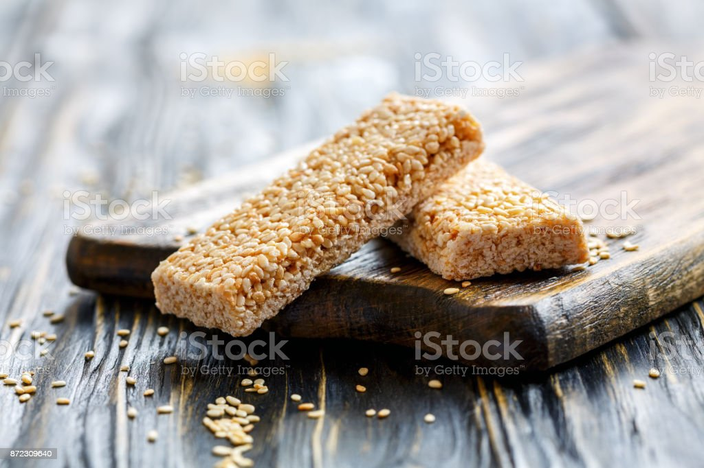 Honey bars with sesame seeds. stock photo