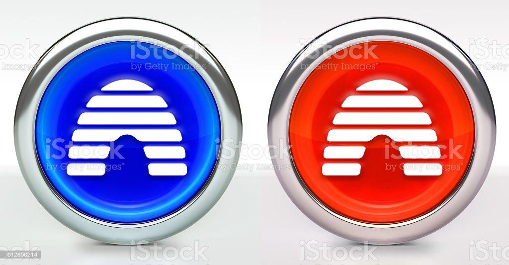 Honey Bee Hive Icon on Button with Metallic Rim stock photo