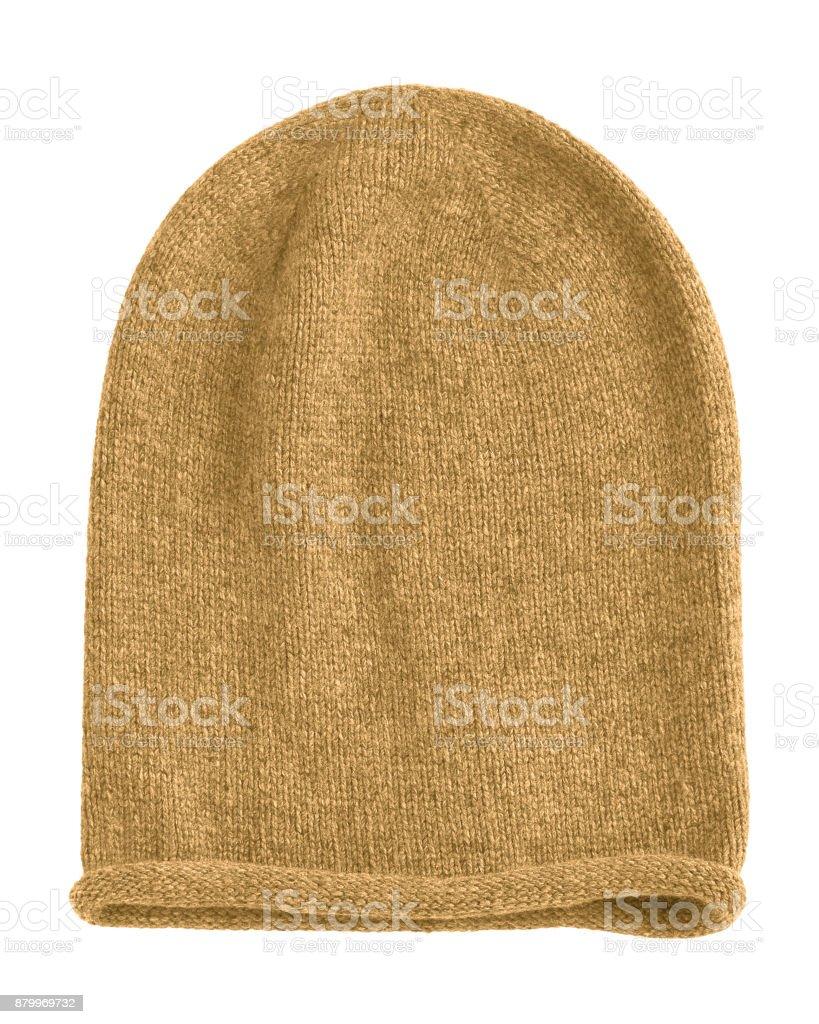Honey beige long beannie autumn hat isolated stock photo