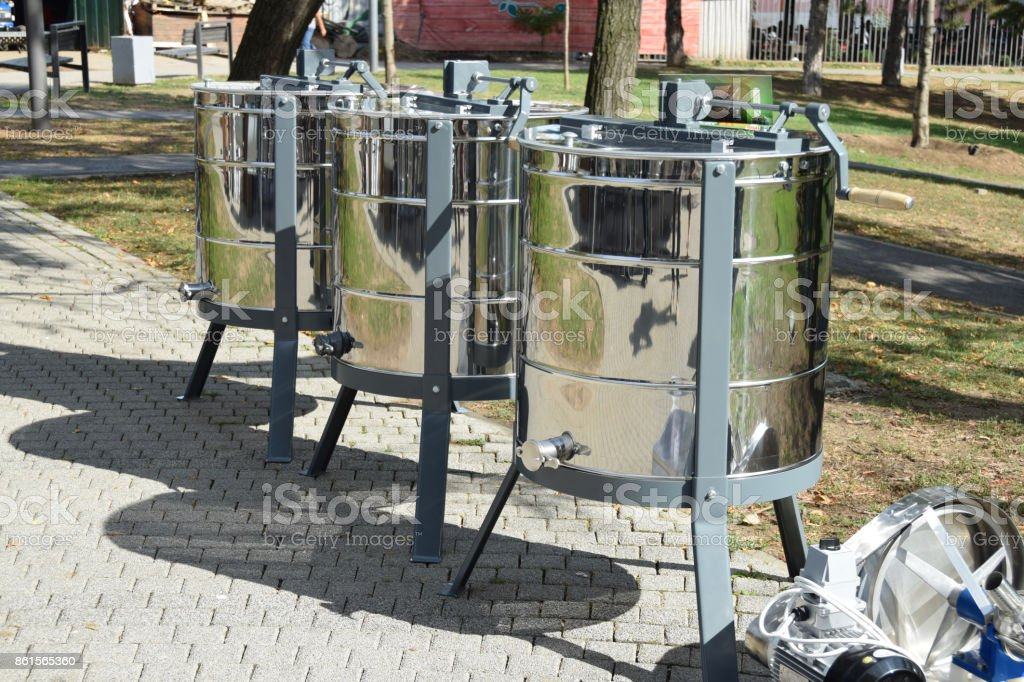 Honey extractor on the street market stock photo