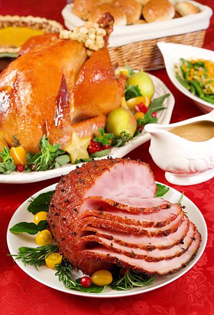 Honey glazed ham stock photo