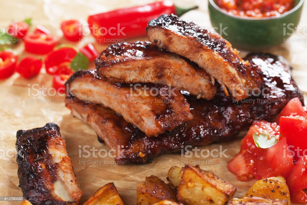 Honey glazed pork ribs stock photo