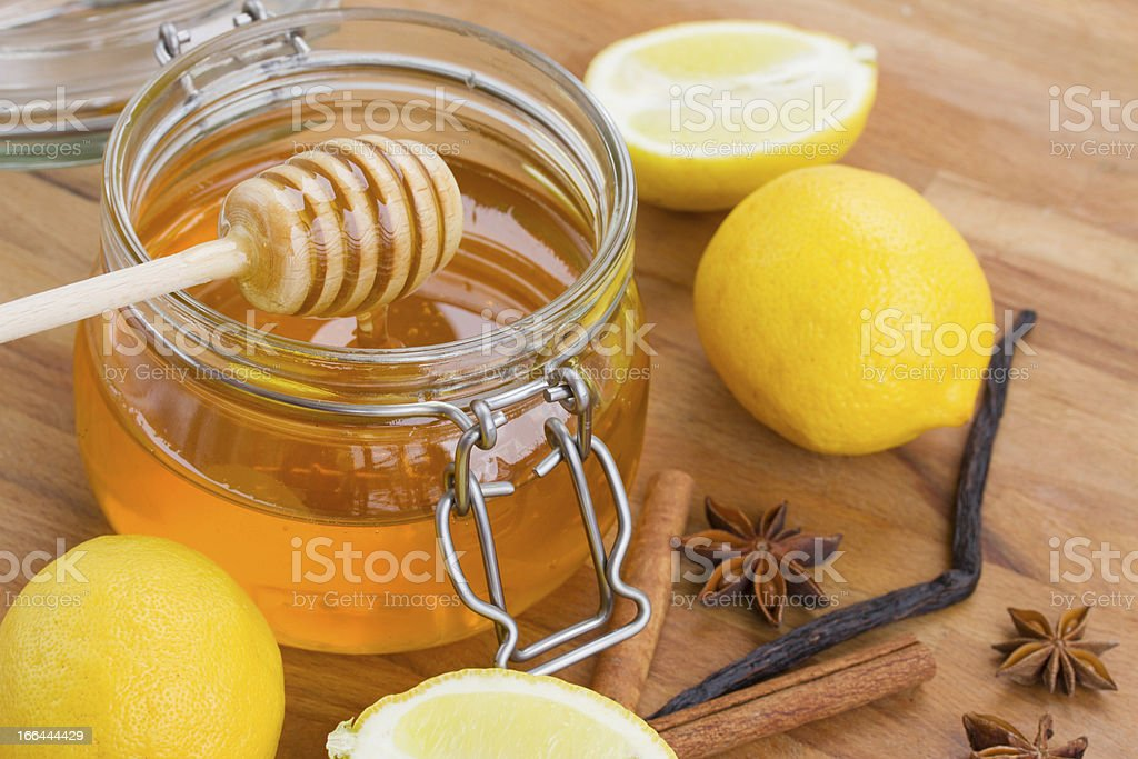 honey in jar  and spices royalty-free stock photo