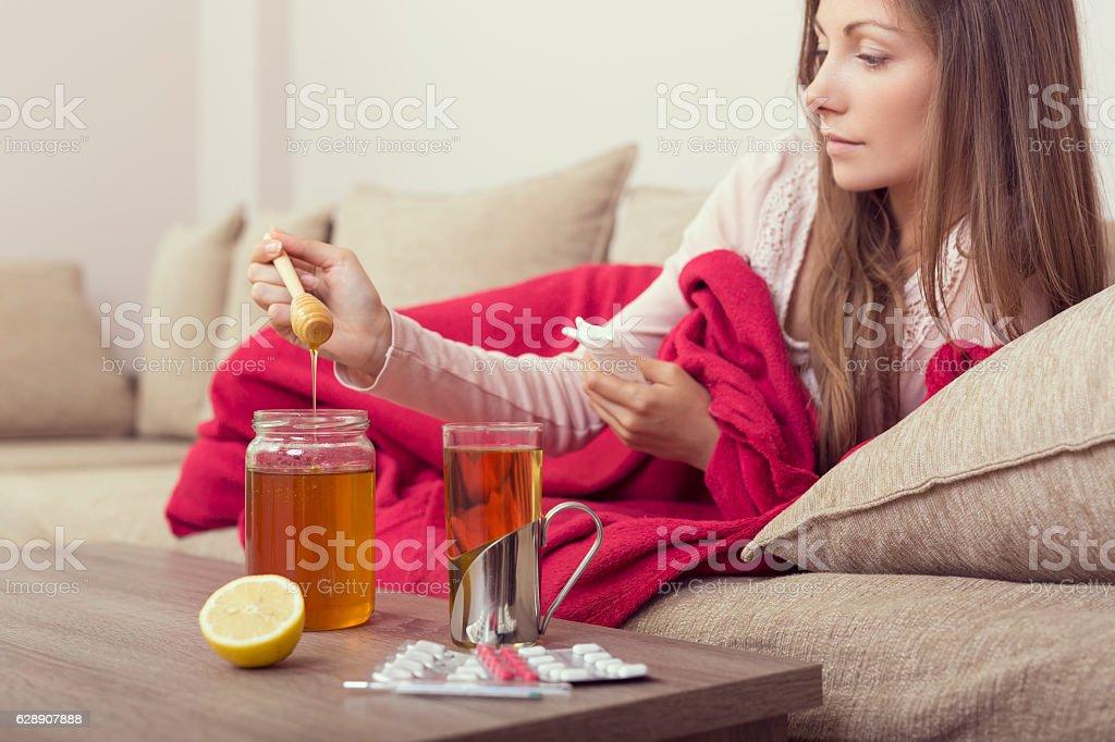 Honey in my tea stock photo
