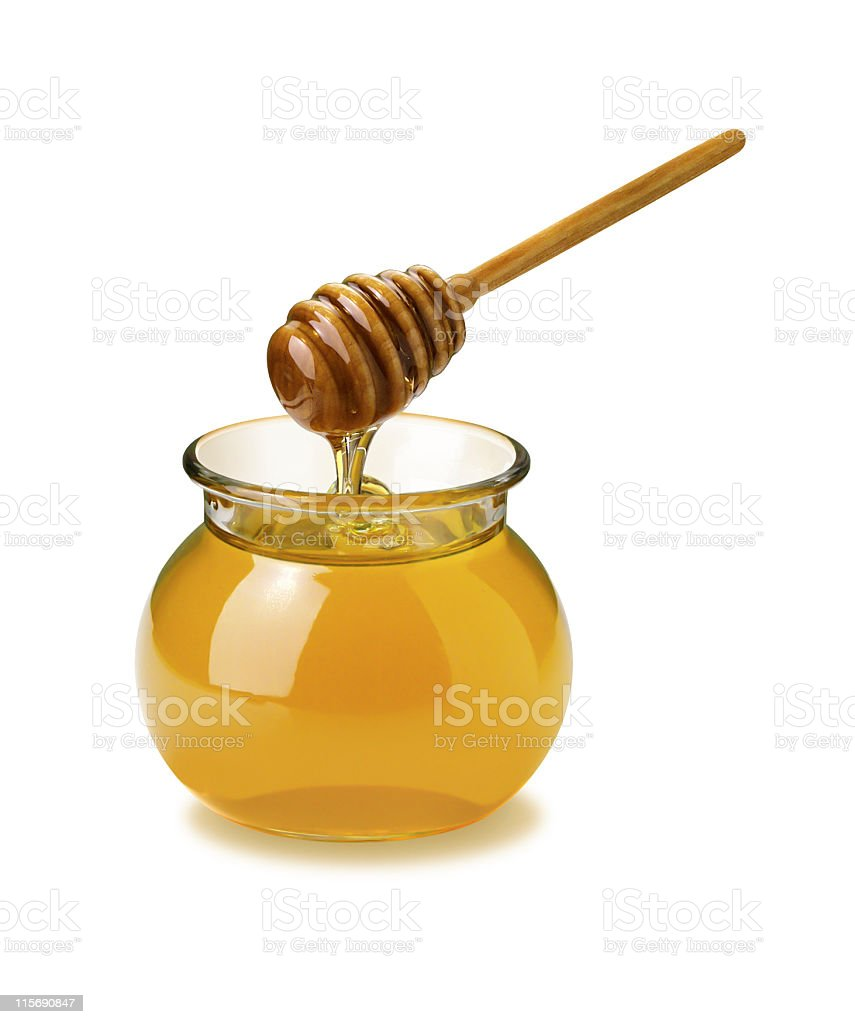 Honey Jar and Dipper stock photo